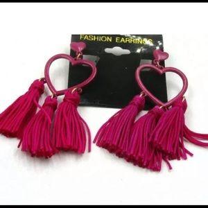 Heart Tassle Earrings CLIP-ON